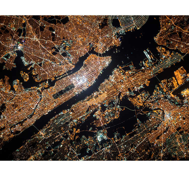 TenStickers. Manhattan at a bird's eye view new york wall mural. A gorgeous New York wall mural of Manhattan from above. Application couldn't be easier, and prices couldn't get any cheaper