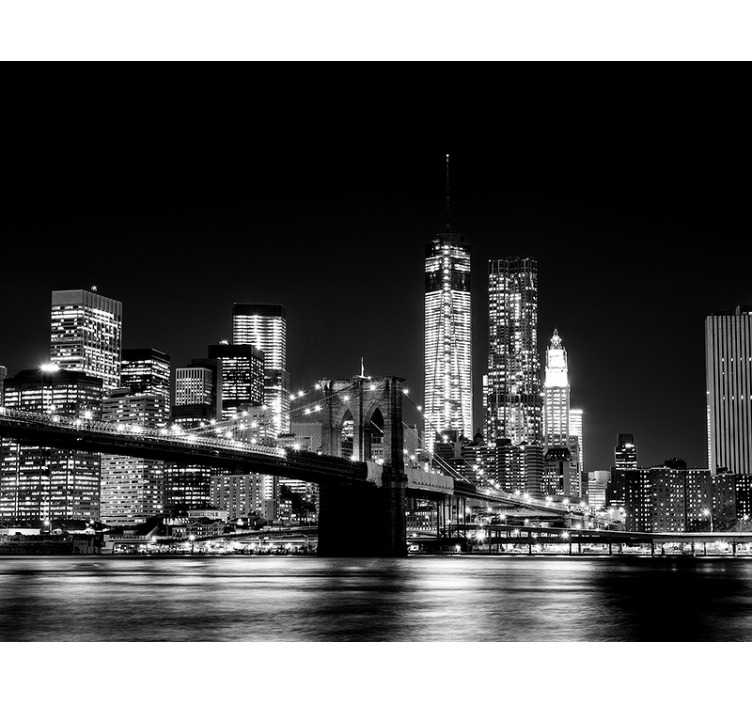 TenStickers. New york east river skyline muurschildering. Wat is er pittoresker dan de east river in new york city? Deze zwart-witte muurschildering in new york is perfect voor jou.