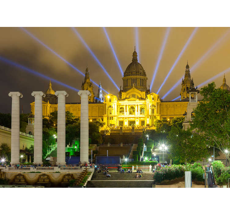 TenStickers. Palace Montjuic at night Lounge Photo Wallpaper. Exclusive photomural Barcelona for the wall of the Montjuic Palace at night illuminated with which you can enjoy a renewed decoration for lower cost.