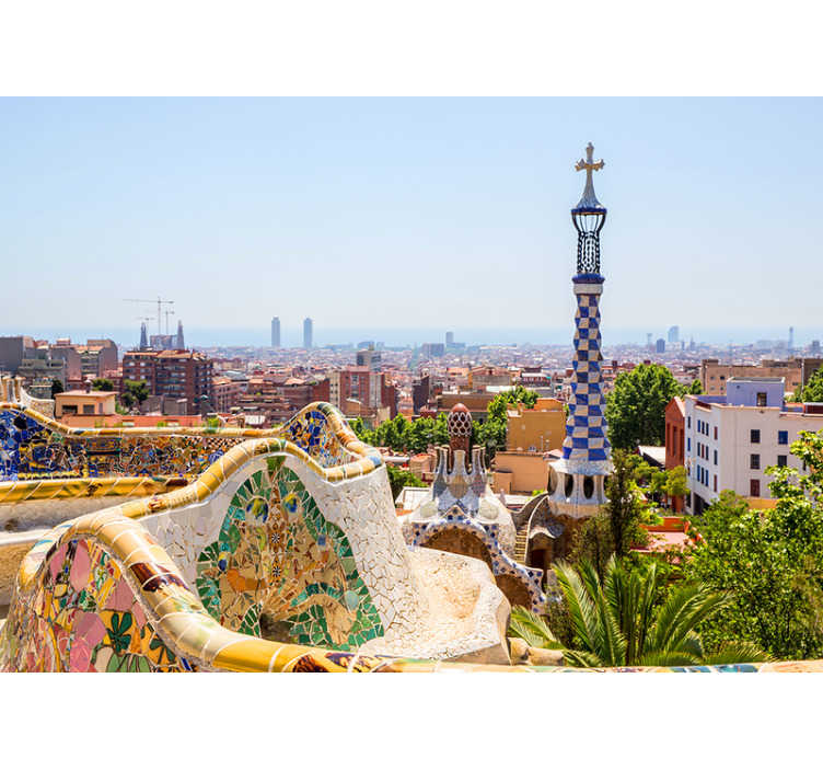 TenStickers. Sea views at Park Güell Barcelona wall mural. Beautiful views to the sea in the beautiful Park Güell in Barcelona.  This Barcelona wall mural will bring a lot of colour and life to your walls!