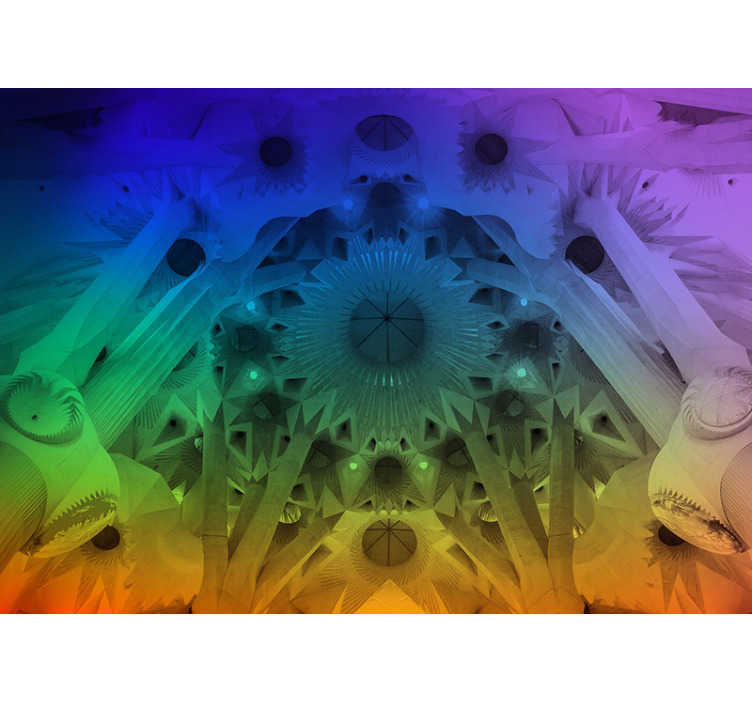 TenStickers. Colorful Sagrada Familia Lounge Photo Wallpaper. Photomural city Barcelona for wall and decoration that now you can use to decorate your house in an exclusive way and that will surprise everyone.