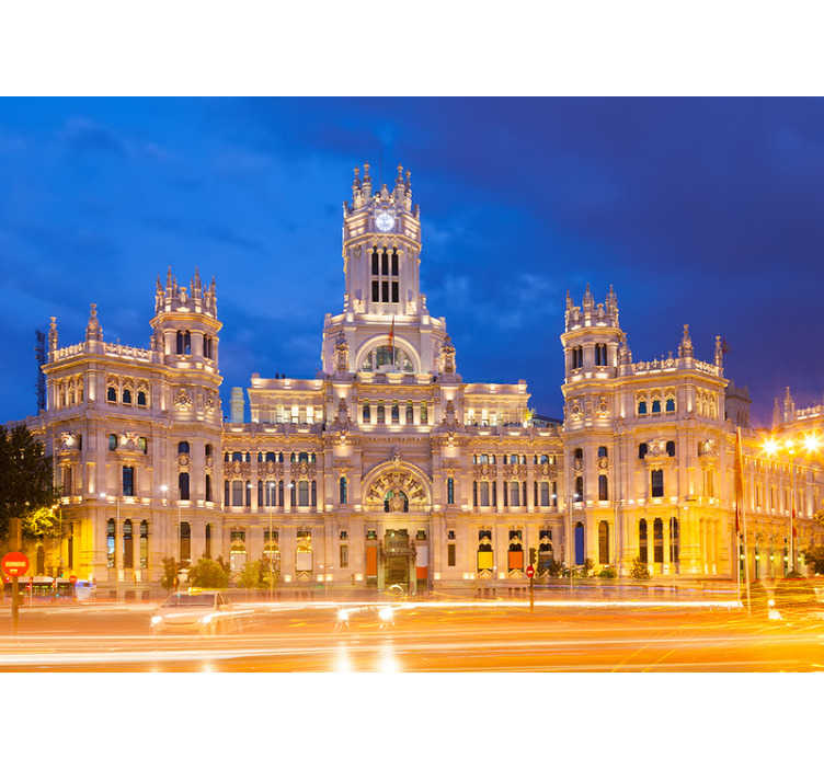 TenStickers. Palacio Cibeles at night  Lounge Photo Wallpaper. Wonderful photomural city Madrid of the Palacio de Cibeles at night with which you can decorate the room of your house you prefer.