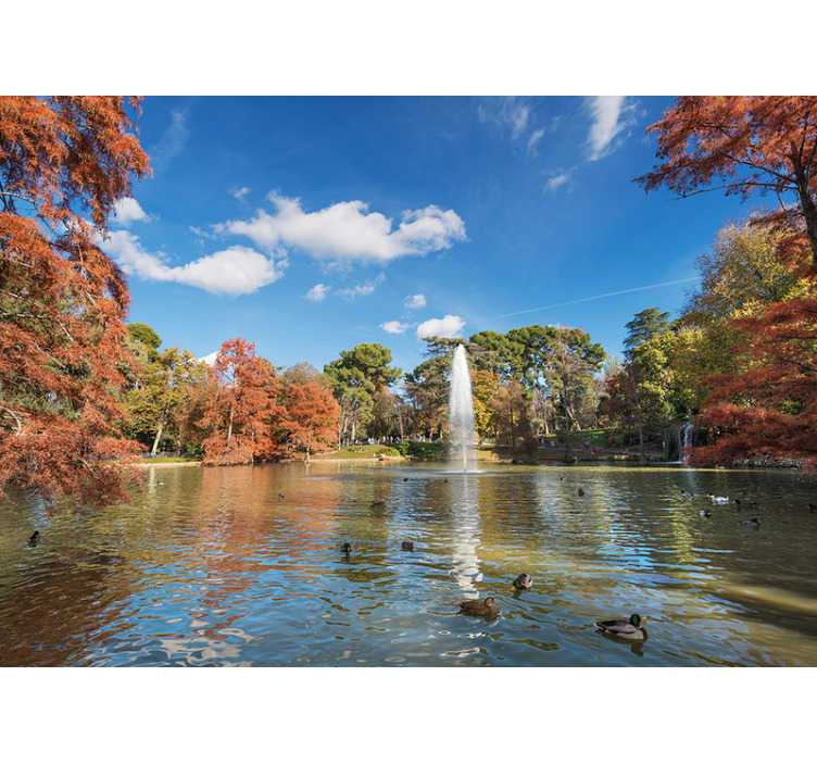 TenStickers. Retiro Park in autumn Lounge Photo Wallpaper. Fantastic photomural Madrid Retiro Park in autumn that you can now enjoy from your own home with a wonderful design that you will love.