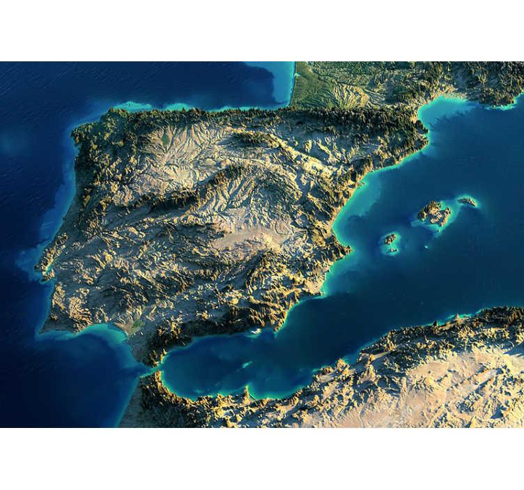 TenVinilo. Mural de mapamundi 3D España. Exclusivo fotomural mapamundi 3D efecto profundidad de España en el que vemos todos los fenómenos geográficos de nuestro país. Fácil de colocar.