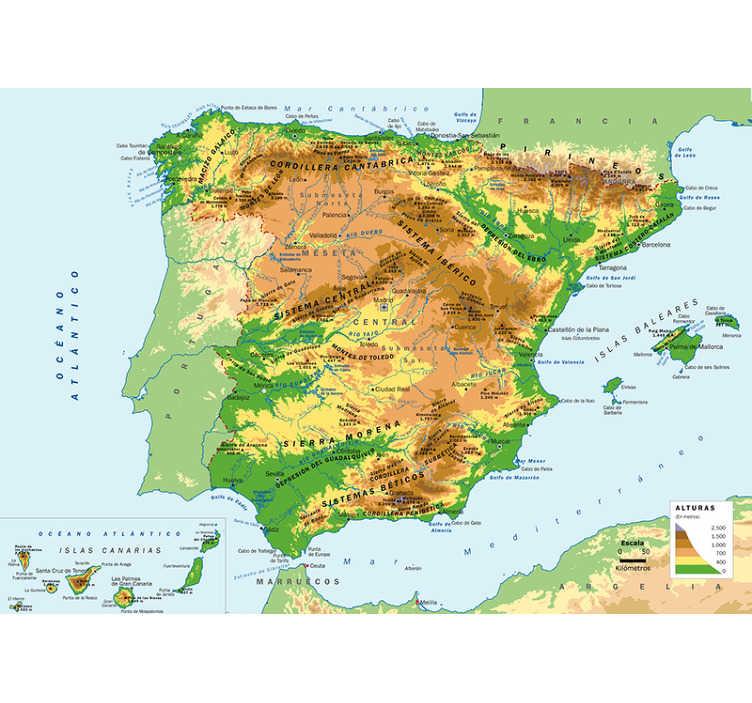 TenVinilo. Mural de mapamundi físico España. Maravilloso fotomural infantil mapamundi de España para pared con todos los fenómenos geográficos de nuestro país para que tus hijos aprendan