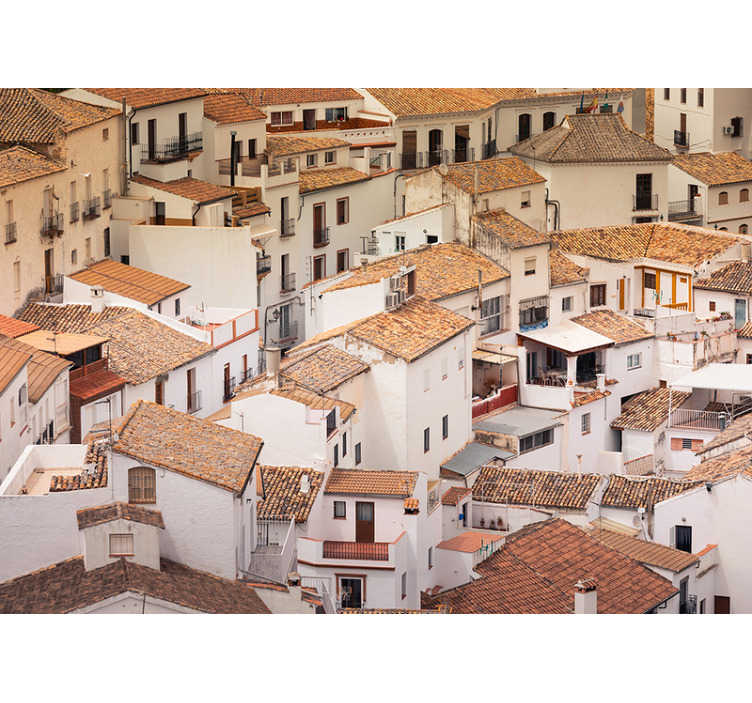 TenStickers. Town houses in Andalusia photo mural. Get lost in the stunning streets of a cute town in Andalusia, Spain. This city wall mural is perfect for adding a light touch of colour to your walls