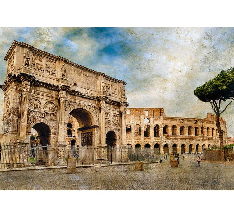 TENSTICKERS. コンスタンティンイタリアの壁画のアーチの壁紙. このイタリアの壁画で有名なローマのランドマークを探索してください!見るべき光景、コンスタンティヌスのアーチはこの見事な壁の壁画で紹介されています