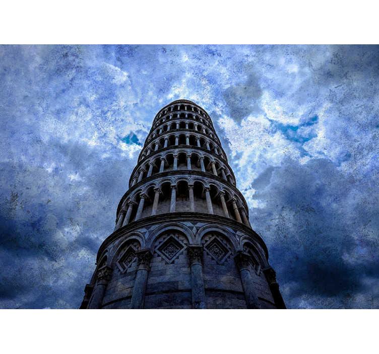 TenStickers. Fotomural vinílico de cidades Torre de Pisa . Faça uma viagem a Pisa para ver a bela torre inclinada de Pisa graças a este fotomural de parede decorativo vinílico de Itália!