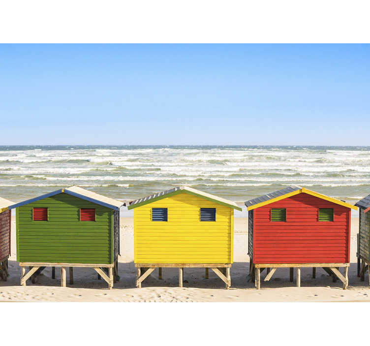 TenStickers. Beach huts landscape wall mural. Ideal photomural wall of sea with wonderful landscape to some typical English houses of coast that now you will be able to enjoy from your own house.