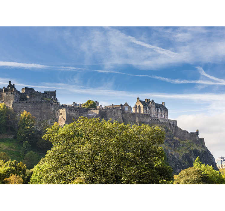 TenStickers. Edinburgh castle mural wallpaper. Travel back to the age of castles and knights with this Edinburgh castle wall mural depicting the castle and the beautiful surroundings