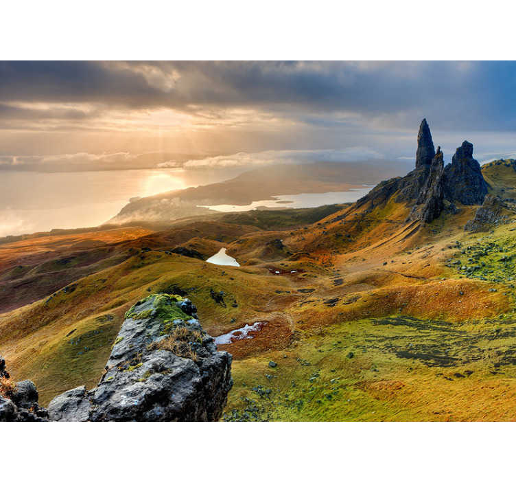 TenStickers. Isle of Skye nature landscape wall mural. If you haven't heard of the Isle of Skye then this nature wall mural says it all! If you are searching for the perfect mural then stop the search