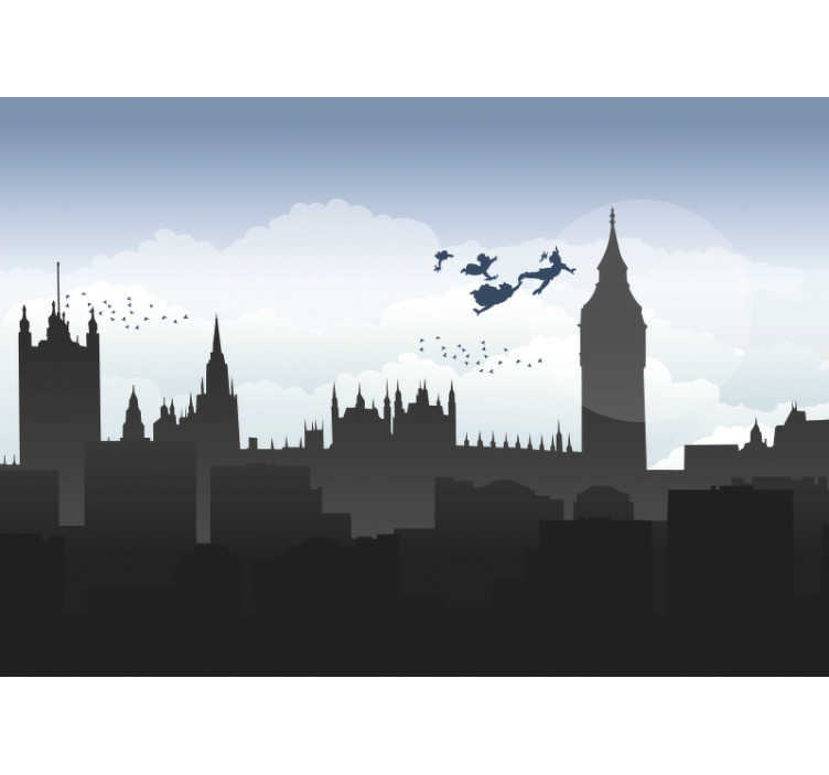 TenVinilo. Mural Londres infantil. Exclusivo fotomural pared infantil de Londres con los personajes de Peter Pan volando que tus hijos no podrán dejar de mirar. Fácil de aplicar.