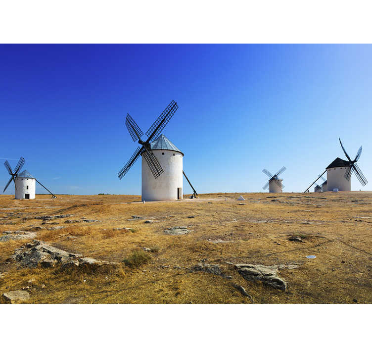 TenStickers. Rural area Spain mural wallpaper. Original photomural of Spanish rural landscape with which you will enjoy incredible views of the fields of La Mancha to renew your decoration.