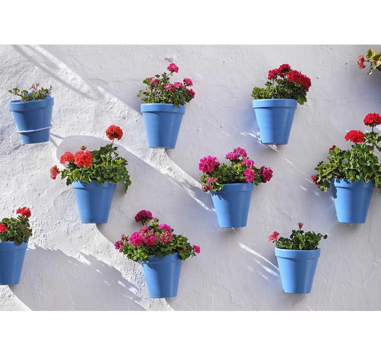 TenStickers. Blue flowerpots mural wallpaper. Every flower-lover will have to get this beautiful nature photo wallpaper You can easily apply it in every room of your choice!