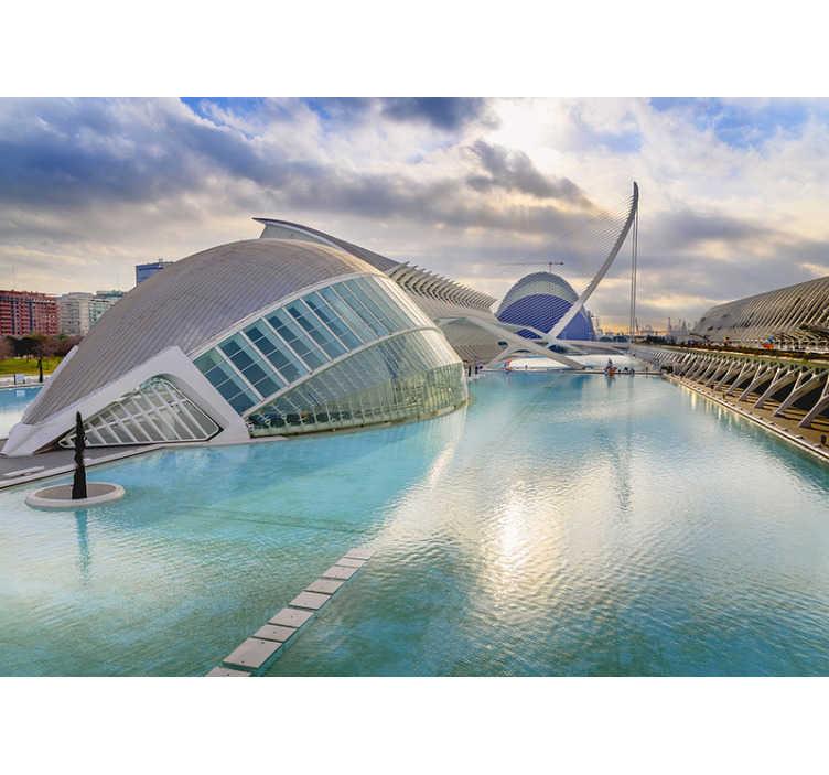 Tenstickers. Valencia veggmaleri bakgrunnsbilde. Få din favoritt feriedestinasjon hjem. Med dette fototapetet av valencia, vil den vakre spanske byen se fantastisk ut på veggene dine!