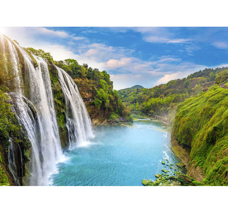 TenStickers. River landscape wall mural. Water has the power to calm our minds and make us happy Get this landscape photo wallpaper to decorate your home or the office!