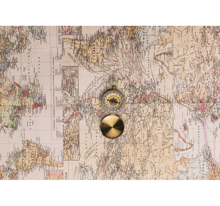 TenStickers. Vintage world map with compass wall mural. This vintage world map wall mural shows an old map of the world with a golden compass in the middle The photo is so good, it looks like it's real!