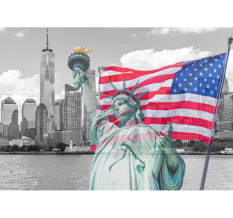 TenStickers. New York Statue of Liberty new york skyline wall mural. Would you like to live the American dream? With this new york city photo mural you can easily decorate your home or office, wherever you want!