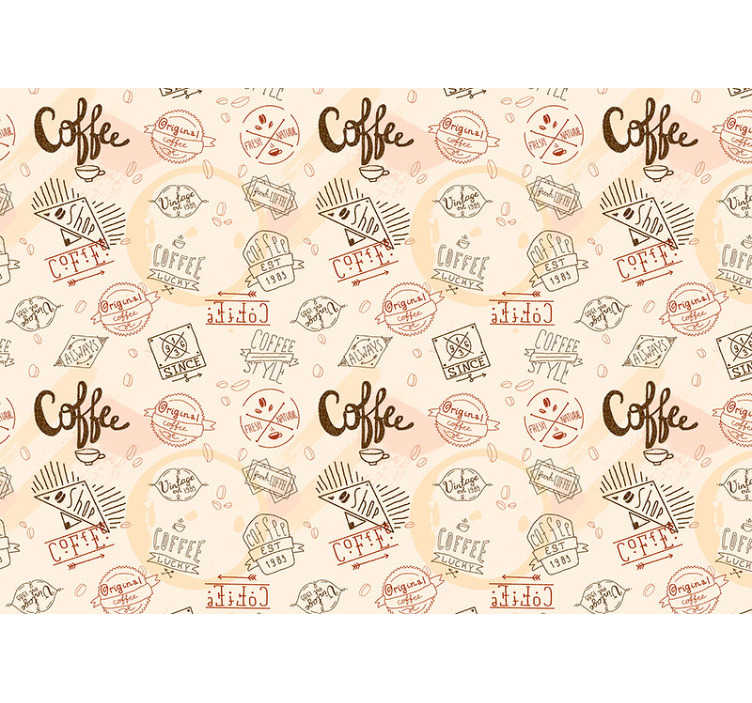 TenStickers. Coffee pattern wall mural. This kitchen photo wallpaper shows different coffee signs with a beige background. The beautiful colors will be the highlight of your home!