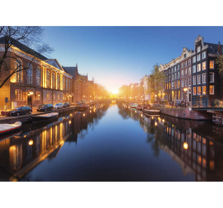 TenStickers. City wall mural Amsterdam. Forget about boring walls and go to Amsterdam place without even moving from your sofa. This country wall mural will be perfect for your living room.