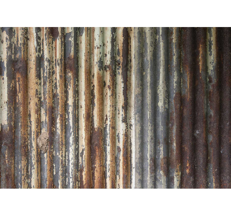 TenStickers. Metal sheets mural wallpaper. This textured photo mural shows a wall out of metal sheets in  The bright colors of this image are very cool and it's a great decoration for your home!