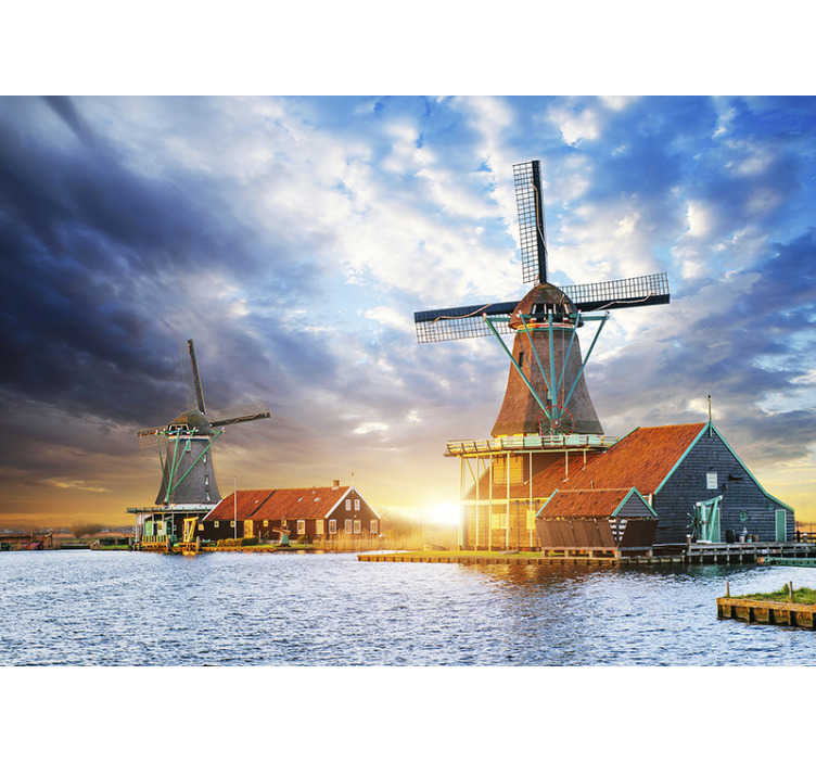 TenStickers. Landscape with windmills mural wallpaper. This lounge photo wallpaper shows a beautiful landscape with windmills and the sunset in the background You will be impressed by the