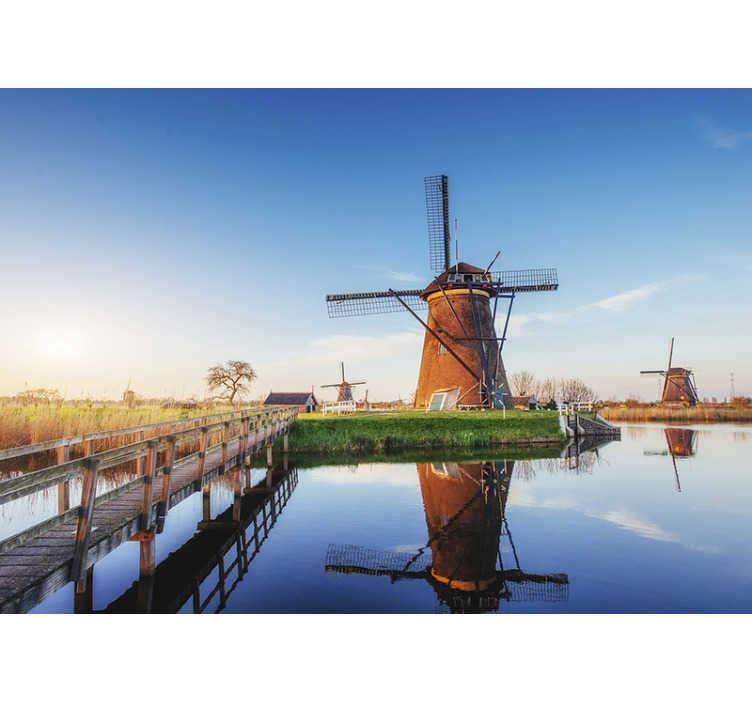 TenVinilo. Mural pared paisaje holandés típico. Un típico diseño de fotomural mural pared de paisaje de ciudad holandesa. Este diseño está creado con la versión original de un país holandés. Diseño fácil de aplicar.