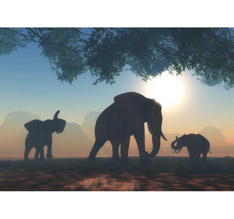 TenStickers. Stenske stenske tapete za divje slone. Stenski mural živalskega slona, ki bo v vaši dnevni sobi ustvaril videz čudovitega parka divjih življenj in vedno boste uživali v razgledu.