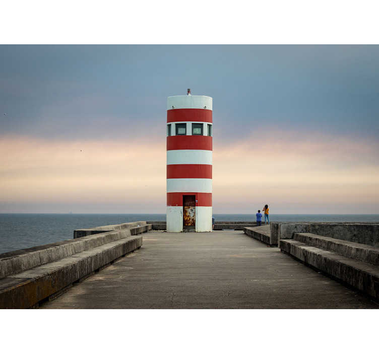 TenStickers. Lighthouse landscape wall mural. This Lighthouse landscape wall mural is just everything in itself. This design contains the sea, a station,the lovely landscape with people on it.