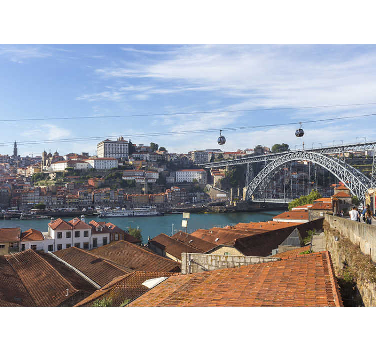 TenStickers. Porto Panorama mural wallpaper. A Porto Panorama mural wallpaper just sitting beautifully on your wall  at home. This design contains beautiful city views and attractions on it.