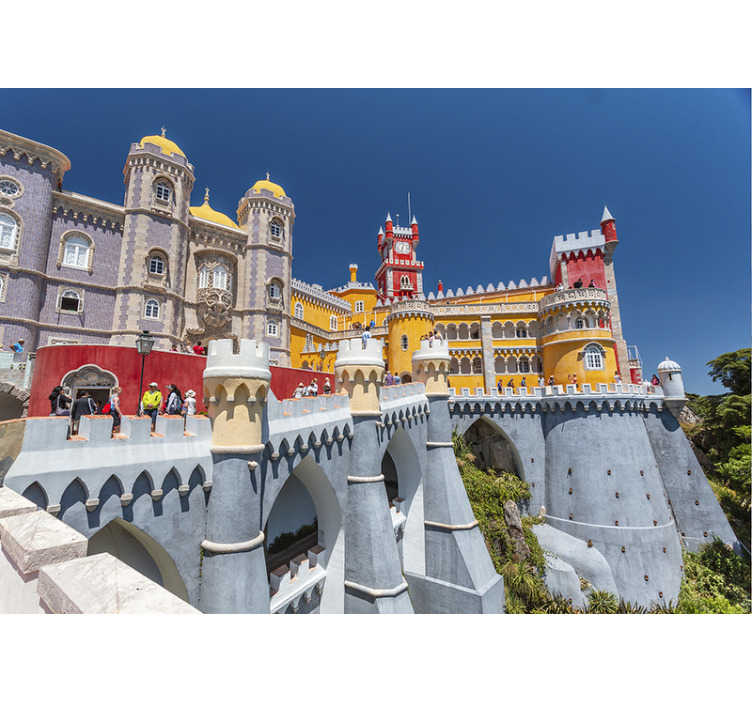 TenStickers. Pena's Palace mural wallpaper. Imagine your wall with this beautiful, colourful and historic Pena's Palace wall mural of the Romanticist castle of Sao Pedro de penaferrim.