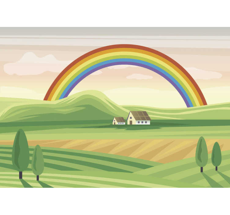TenStickers. Rainbow over the fields Children´s Wall Murals. This children photo wallpaper shows a beautiful scene with a rainbow over some fields. The bright green and other colors will be the highlight!