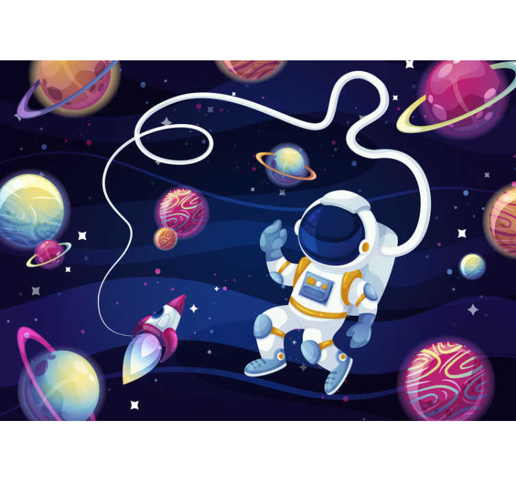 TenStickers. Children´s Wall Murals Astronaut in space. Boost your childrens imagination with this bedroom wall murals that shows enlessness of our universe. High quality image!
