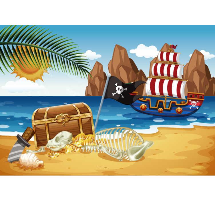 TenStickers. Tesori dei pirati fotomurales per bambini. Questa carta da parati fotografica per bambini mostra una scena con una barca pirata e un grande tesoro. I colori vivaci saranno il momento clou della tua casa!
