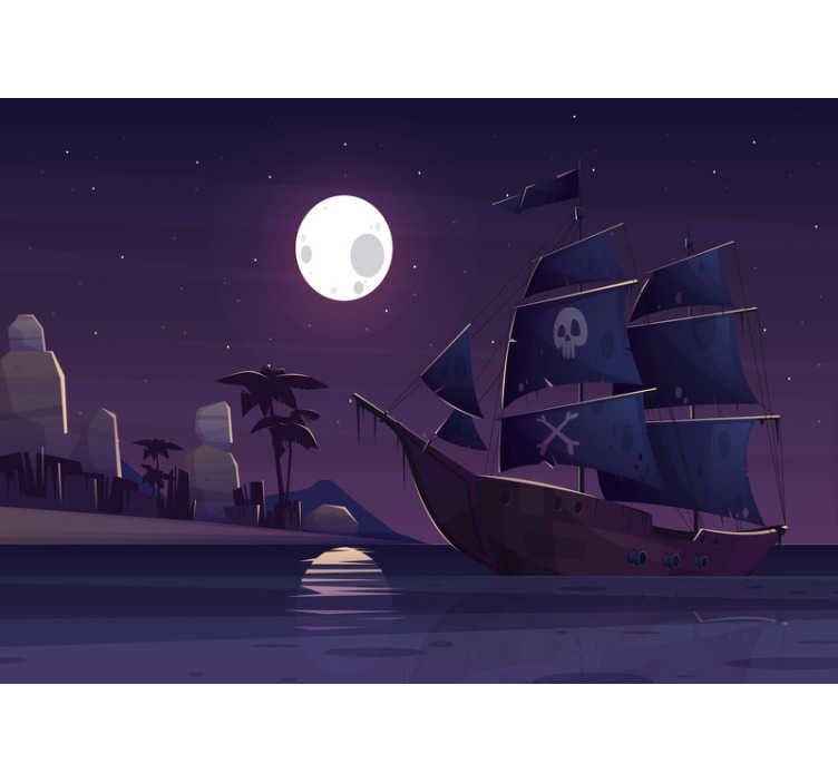 TenStickers. Pirate ship at night Children´s Wall Murals. This children photo wallpaper shows a scene with a pirate boat at night. The intense colors will be the highlight in your home!