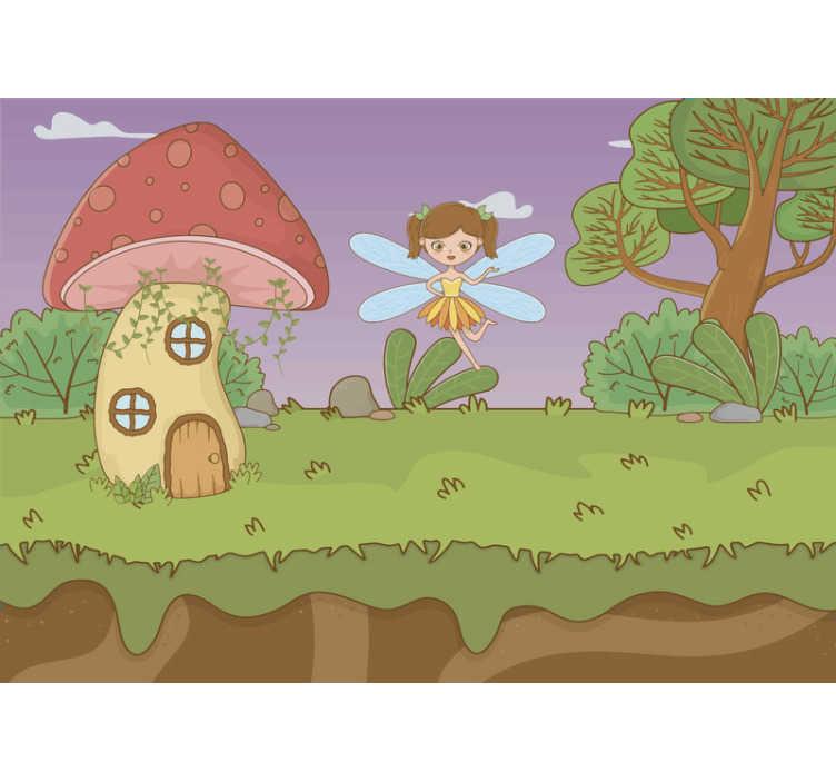 TenVinilo. Mural infantil de enanitos y hadas. ¡Este papel mural pared de bosque de fantasía muestra una casa de setas con hadas, los colores de esta imagen son muy bonitos! Envío a domicilio