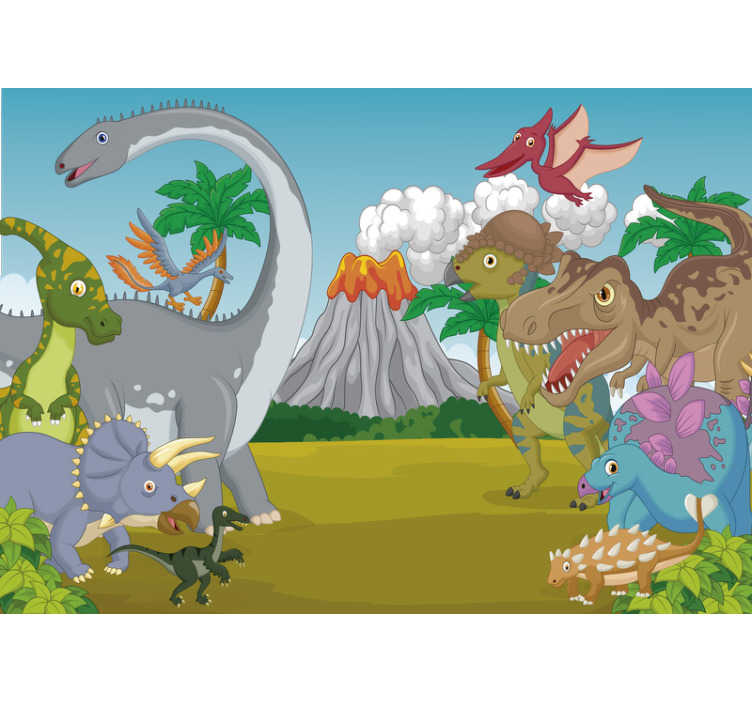 TenStickers. Vulcano dinosaurs Children´s Wall Murals. This childrens wall mural shows a scenery with many happy dinosaurs and a vulcano in the background The colors on this image are beautiful!
