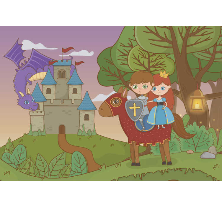 TenStickers. Kids Murals Dragon on the Castle. Order fantasy wall mural for your kids and make them happy with this design of magical place with knight, princess, castle and a dragon.