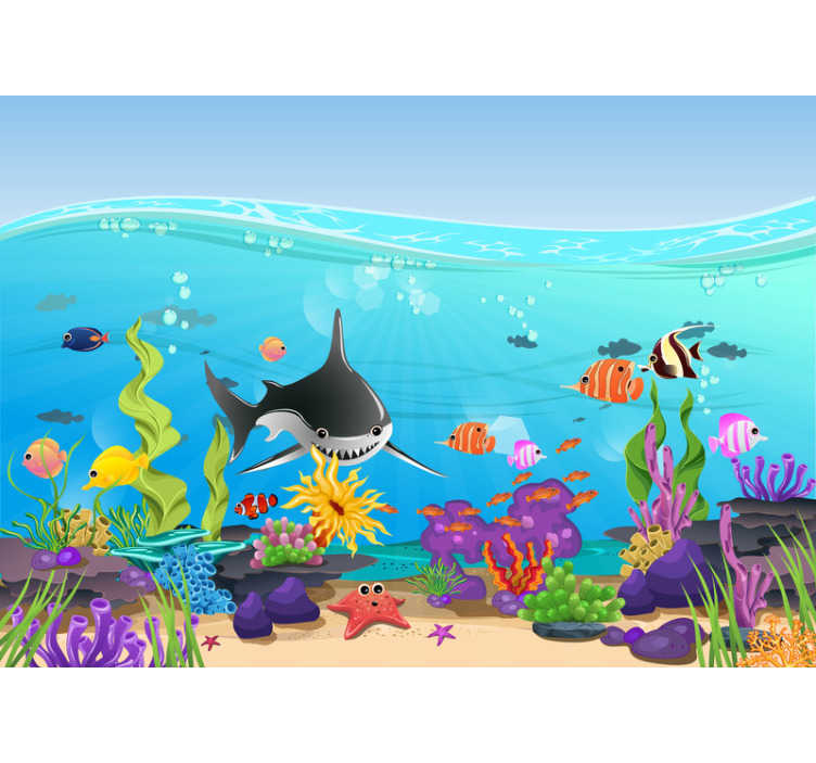 TenStickers. Underwater fish Children´s Wall Murals. This kids bedroom mural shows an underwater scenery with many lovely fishes and sea creatures The colors on this image are very beautiful and bright!
