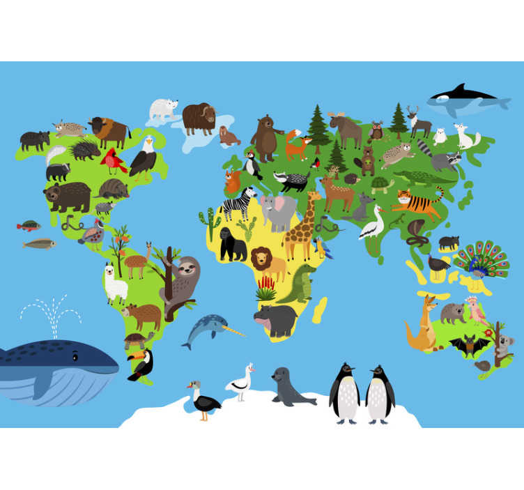 TenStickers. Minimalistic world map animal wall mural. This world map wall mural shows a minimalistic world map with almost all animals of the continents on it. The colors on this image are very bright!