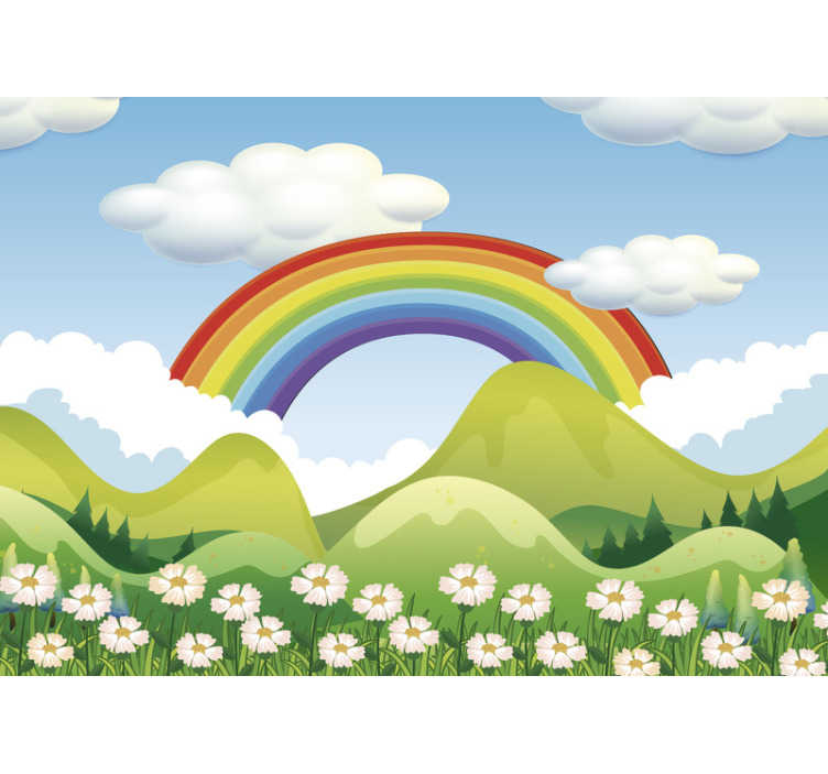 TenStickers. Kids Murals Rainbow above the nature. To have a kids wall mural with a rainbow on blue sky is a dream of every child. Make it possible and order this stunning wall mural now!