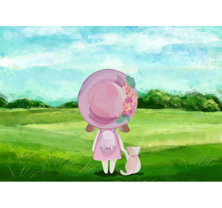 TenStickers. Wall Mural A girl on meadow. Order this beautiful kids mural and begin this crazy adventure. The design of a little girl and a cat will make your kids produd of their rooms.