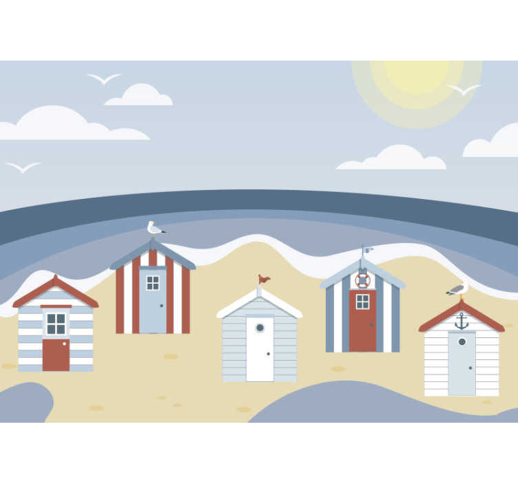 TenStickers. Scenery wall mural beach huts. From now on you ca enjoy the sand and sea inside your house. This scenery photo mural would be perfect for your children bedroom.