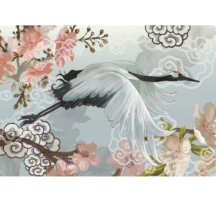 TenStickers. Blossom crane mural wallpaper. This beautiful photo wall mural shows a painting of a crane with blossoms in the background. With amazing colors, this is the perfect decoration.