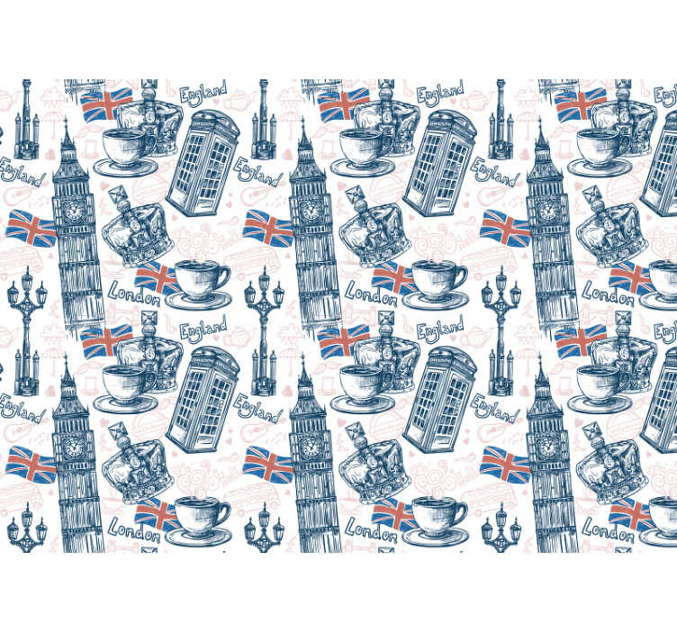 TenStickers. City wall mural Cups of tea. Create an international atmosphere with those typical symbols like flag, Big Been or phone box on this London wall mural. Matte finishing!