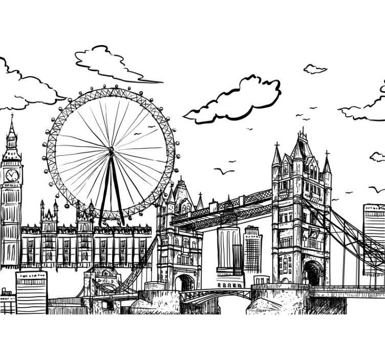 TenStickers. Drawing of London City wall mural. This London wall mural shows the skyline of London in a black-and-white drawing The architecture and design on this image are stunning!