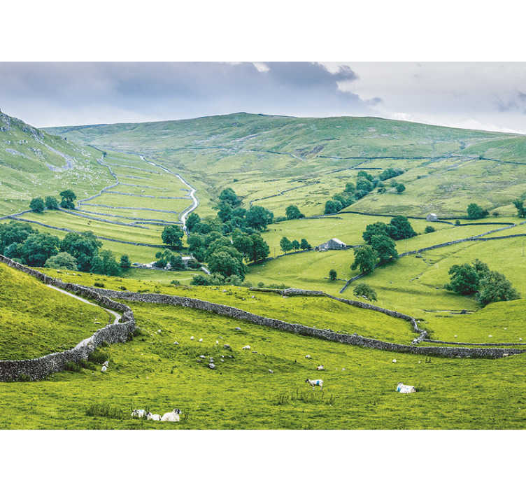 TenStickers. English Countryside mural wallpaper. Decorate your home's walls with this beautiful landscape wall mural with views of England's green meadows. Easy to apply.