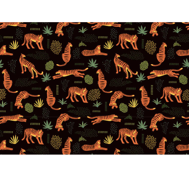 TenStickers. Feline red mural wallpaper. This beautiful wall mural shows imaginations of tigers taking different positions, especially to make your children happy!