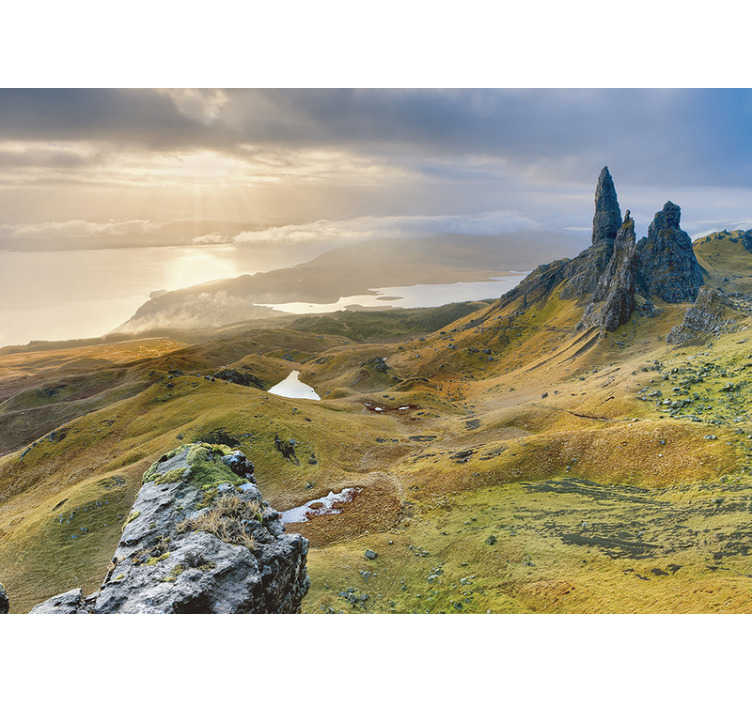 TenStickers. Mural wallpaper Isle of Skye. Being surrounded by nature has so many positive advantages... order this stunning scenery photo mural and relax on your sofa looking at this view.