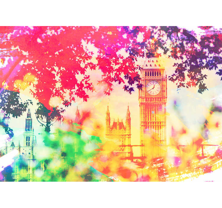 TenStickers. London Watercolour City wall mural. Magnificent London wall mural of an image of the city of London painted in watercolor perfect for decorating  your home. Easy to apply.